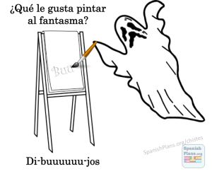 What does a ghost like to paint? Drawings (dibuuuuuujos).