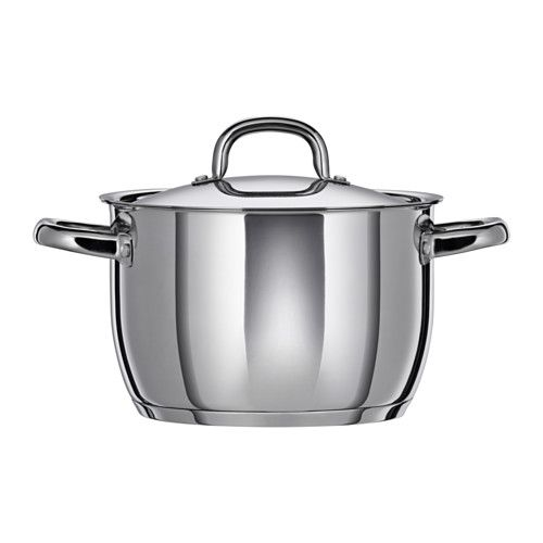 IKEA - OUMBÄRLIG, Pot with lid, Made of stainless steel, which makes the pan durable and easy to clean.Using the lid brings the contents of the pot to a boil faster, so that you can save time, energy and money while lowering your environmental impact.Can also be used in the oven since it is made entirely of metal.
