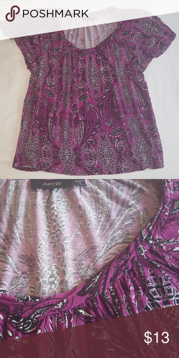 Apt 9 purple paisley print top Purple short sleeved top with paisley print from Apt 9. Neckline is a twist pattern. Soft cotton material with some stretch. Size 1X. Excellent used condition. Apt.9 Tops Tees - Short Sleeve