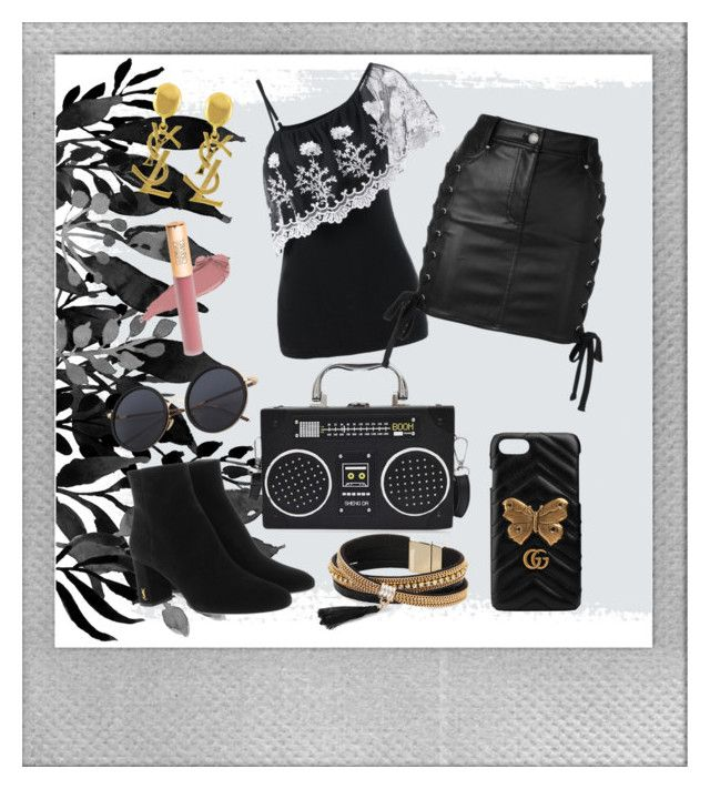 """black"" by sasya15 on Polyvore featuring Polaroid, Yves Saint Laurent, Simons, Versus and Gucci"