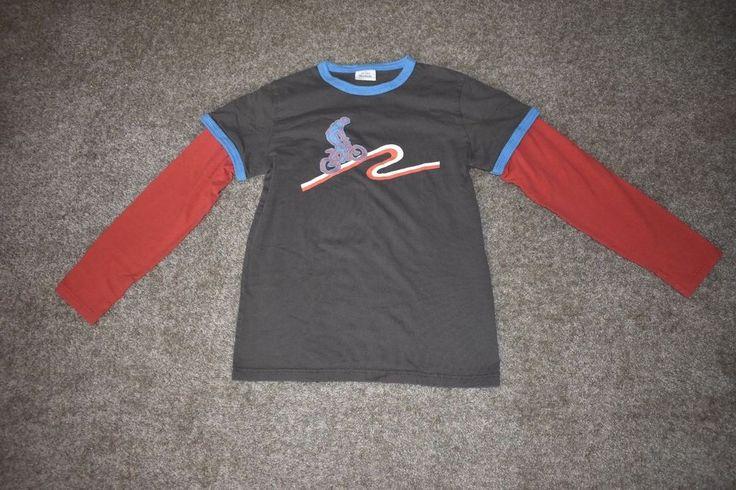 Mini Boden Boys Brown Red Applique Long Sleeve T Shirt Bike Trail Sz 11-12y #MiniBoden #TShirt #Everyday