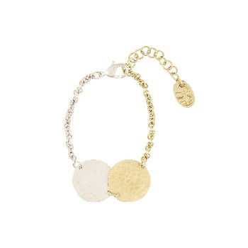 People Tree Organic Disk Bracelet: Hand made brass and silver plated disk bracelet. Hand beaten finish with adjustable lobster clasp.