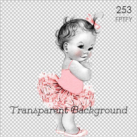 Vintage Baby Ballerina Pink Tutu LARGE PNG Digital Image by ptfy