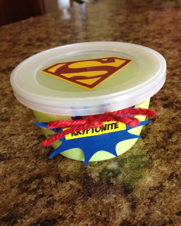 Superhero Party Favor   Glow in the Dark Slime as Kryptonite