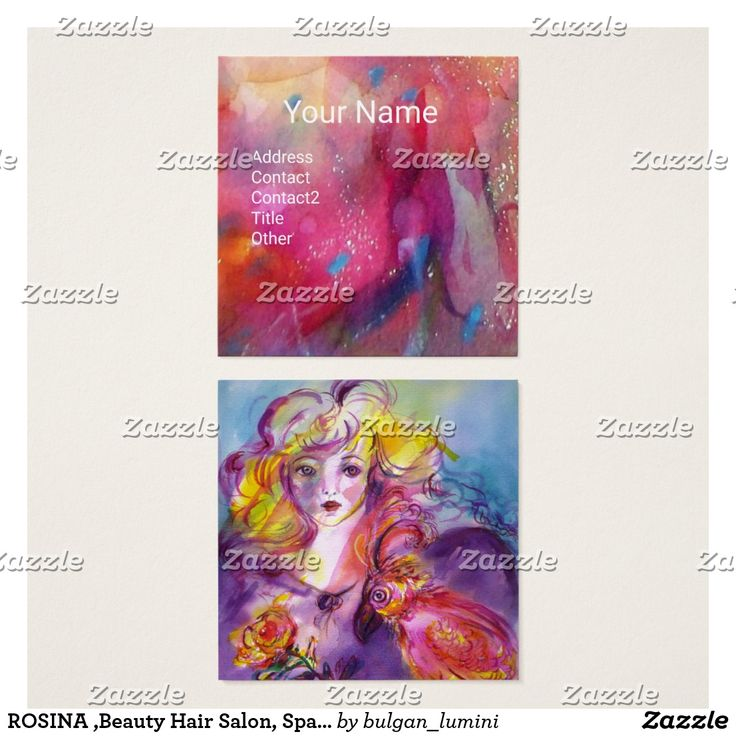 Youhn Girl with Rose and Parrot ,Beauty Hair Salon, Spa ,Makeup Artist Square Business Card #fineart #girl #woman #pink