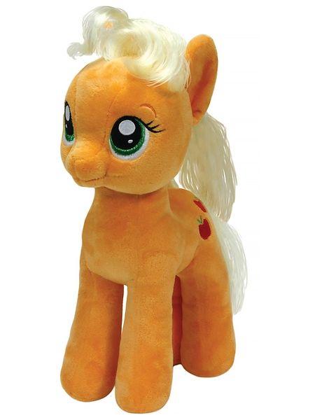 My Little Pony, Applejack -pehmo  Omenafarmilla ahkeroiva Applejack kaipaa lempeitä silityksiä. Syötävän söpön pehmolelun korkeus on 33 cm.