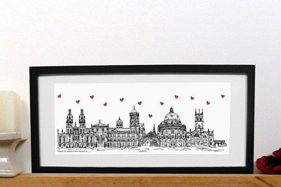 Oxford skyline print  - Home is where the heart is