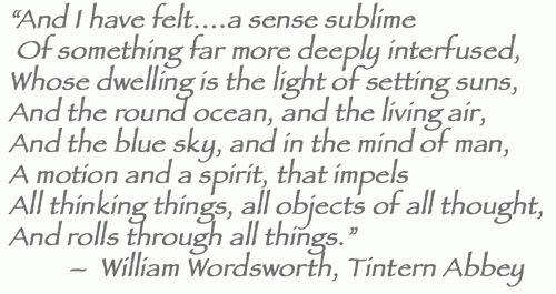 Wordsworth, Tintern Abbey.  I always remember a friend.