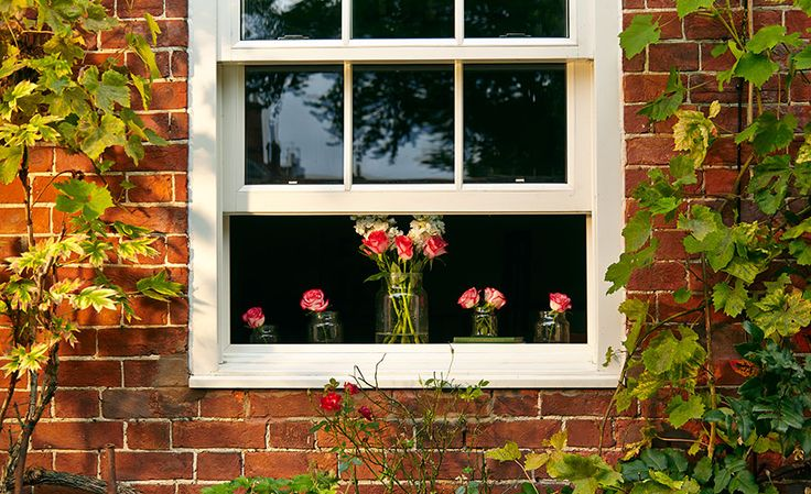 White Timber Sash Window With Cottage Bars Victorian