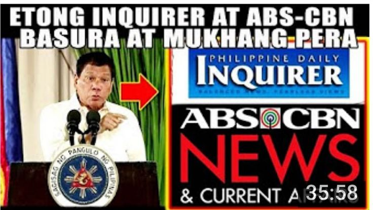 BREAKING NEWS! PRESIDENT DUTERTE TINAWAG NA BASURA AT MUKHANG PERA ANG INQUIRER AT ABS CBN 033017 - WATCH VIDEO HERE -> http://dutertenewstoday.com/breaking-news-president-duterte-tinawag-na-basura-at-mukhang-pera-ang-inquirer-at-abs-cbn-033017/   DISCLAIMER: No copyright infringement intended. Copyright reserved to the respected owner(s) of this video and copyright parties. President Rodrigo Roa Duterte Tunay na Pagbabago Pag-ibig sa bayan The Iron Fists Duterte News Dutert