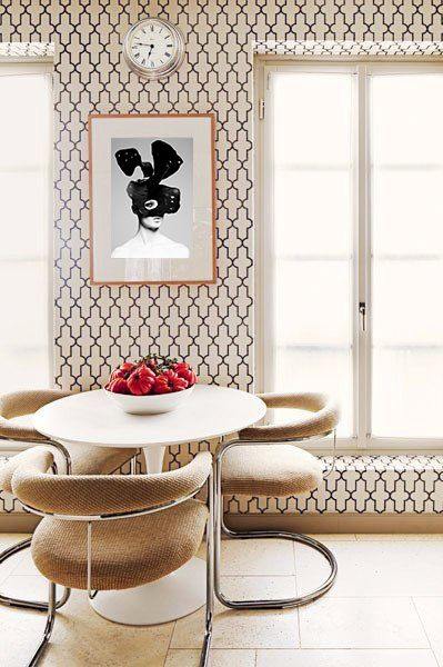 curved motif in dining chairs & wallpaper | via Instant Classics in Design ~ Cityhaüs Design