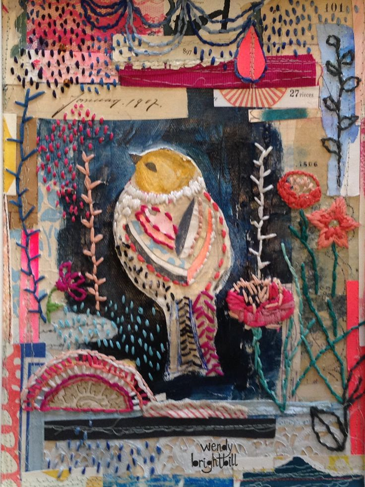 """Original mixed media embroidered collage by Wendy Brightbill titled """"Birdy"""""""