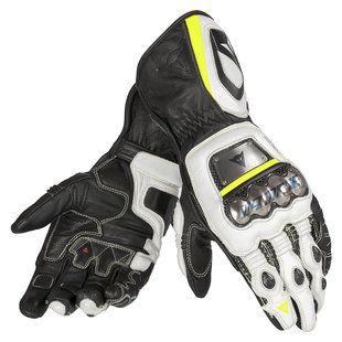 Dainese Full Metal RS Gloves in Black/White/Fluo Yellow Hi-Viz