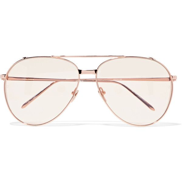 Linda Farrow Aviator-style rose gold-plated sunglasses ($690) ❤ liked on Polyvore featuring accessories, eyewear, sunglasses, glasses, metallic, linda farrow sunglasses, oversized aviator sunglasses, yellow lens aviators, yellow tinted glasses and oversized sunglasses
