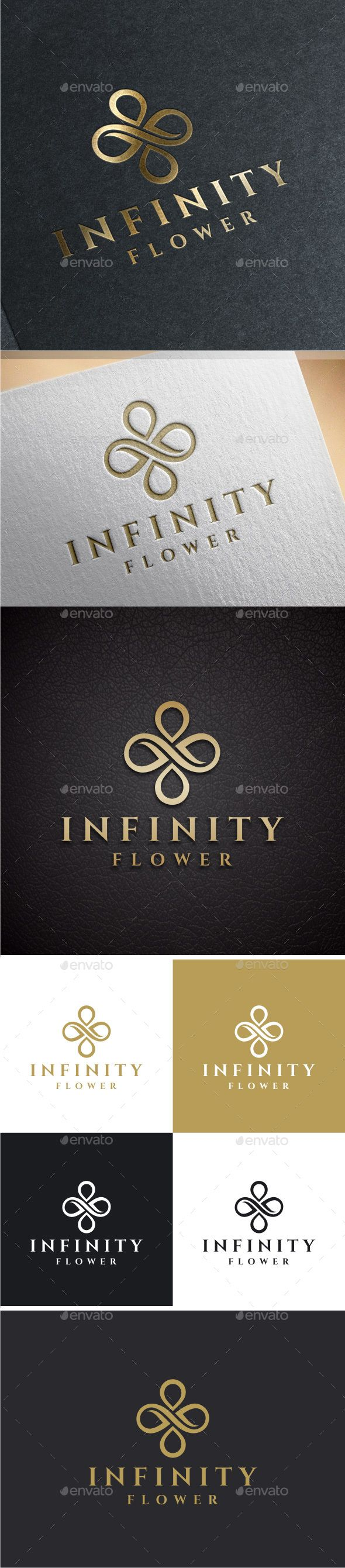 Infinity Flower Logo — Photoshop PSD #gold #florist • Available here → https://graphicriver.net/item/infinity-flower-logo/8514414?ref=pxcr