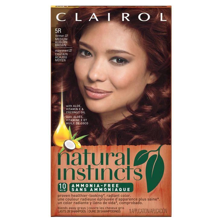 Clairol Natural Instincts Non-Permanent Hair Color - 5R/22 Cinnaberry Medium Auburn Brown - 1 kit, Medium Auburn Brown-22