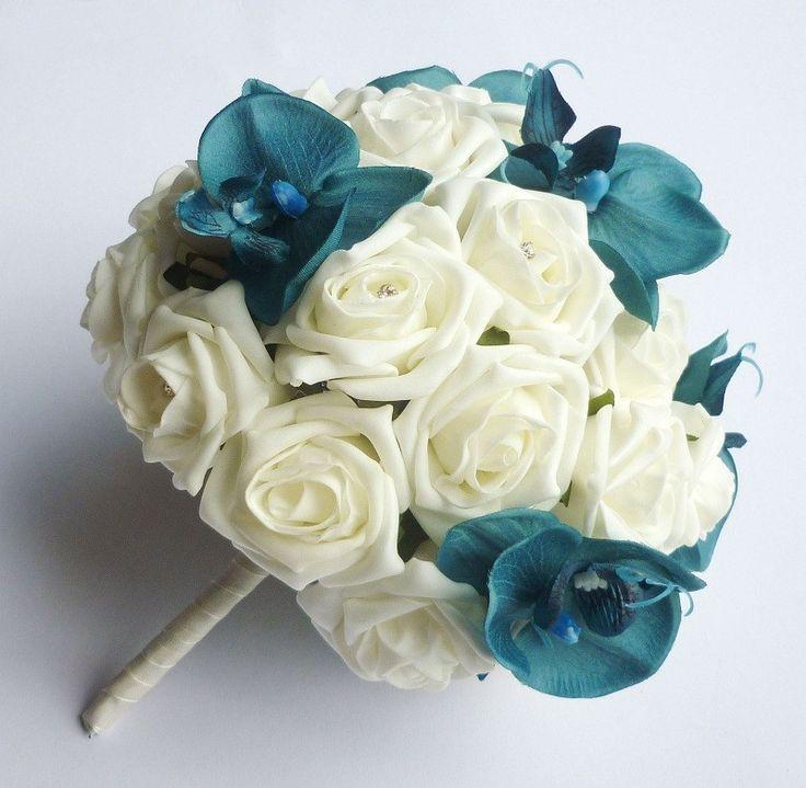 Turquoise orchid brides bouquet