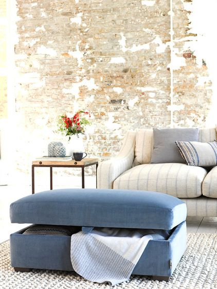 Ottoman works as a footstool, extra seating and storage