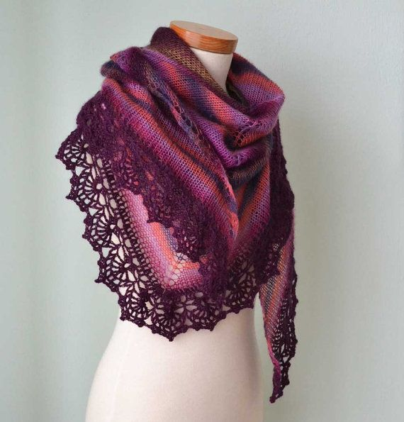 Wild berry knitted shawl with crochet lace trim G647 by Berniolie