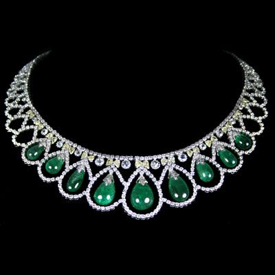 Emerald and Diamond Necklace accompanied by 74.70 carats of Emeralds and 29.09 carats of Diamonds.