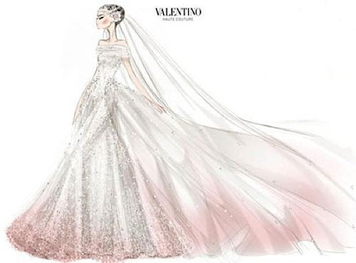 #valentino annehathaway weddinggown weddingsketch