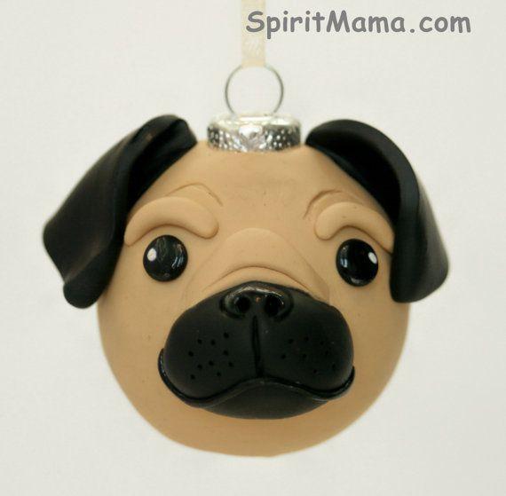 Brown Pug Dog Round Tree Ornament Dog Breed Art by SpiritMama, $25.00