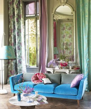 living room: blue, green, pink, pastel, floral