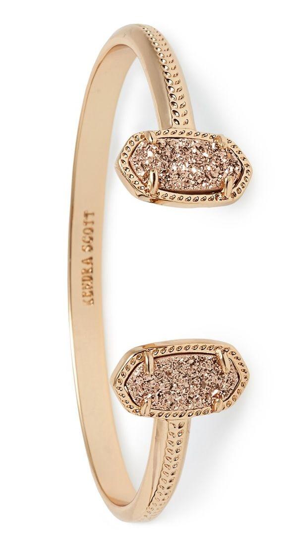Druzy and Rose Gold Cuff Bracelet