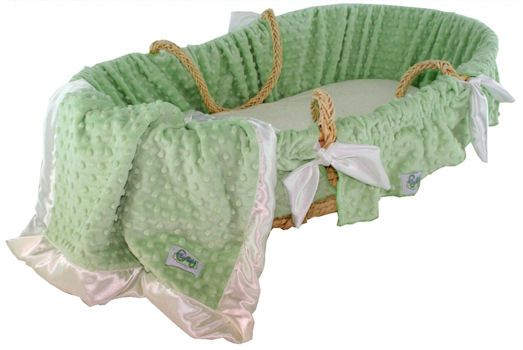 Green Minky Dot Baby Moses Basket | baby bedding | portable baby bed - $159 #mommycouturedesigns