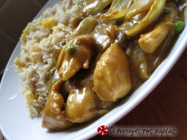 Γλυκόξινο κοτόπουλο με ρύζι τηγανιτό #sintagespareas