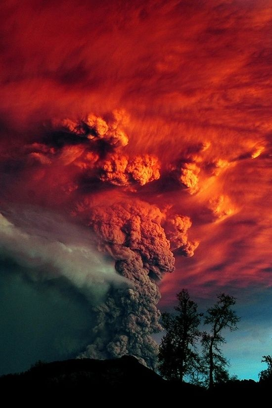 Red smoke at Puyehue volcano eruption, Argentina