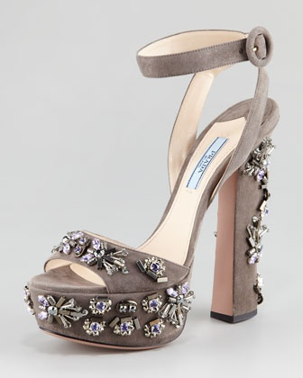 Jeweled Suede Sandal by Prada at Neiman Marcus.Prada Jewels, Italian Vogue, Sandals, High Heels, Suede Sandals, Fall Winter, Neiman Marcus, Platform Sandals, Jewels Su