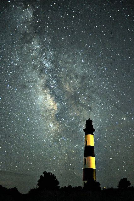 Talk about a starry sky! The Milky Way over the Bodie Island Lighthouse at Cape Hatteras National Seashore in North Carolina.: Island Lighthouse, Body Islands Lighthouses, Lights House, Capes Hatteras, Hatteras National, Cape Hatteras, National Seashore, North Carolina, Milky Way