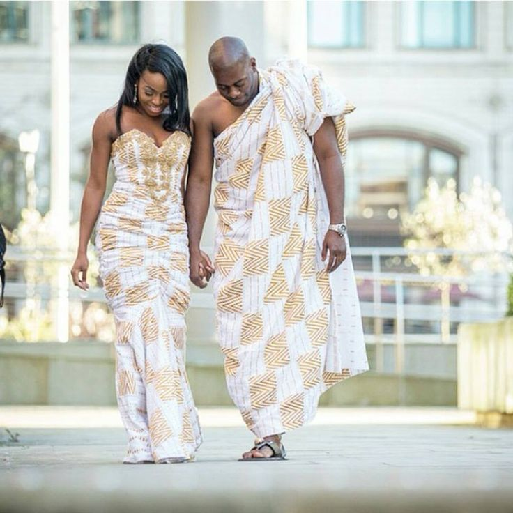 Kente Wedding Gowns: I Do Ghana-white And Gold Kente