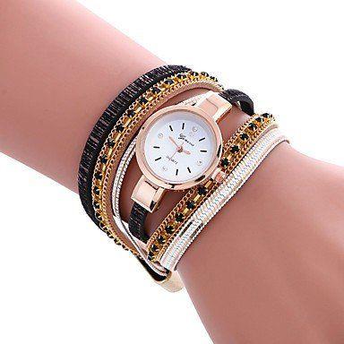 Trendy armbandhorloge goud-rosé goud zwart veelkleuren