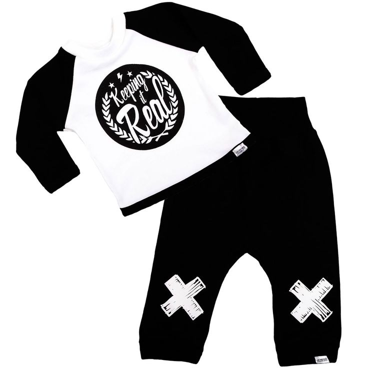"""Lullaby Rock """"Keeping it Real"""" #winter Set. 100% #cotton Raglan #longsleeve #T-Shirt with Matching #Tracksuit #Pants with Rib Trim Waisteband. #Screenprinted. Proudly made in SA. *Shop online at: www.lullabyrock.co.za"""
