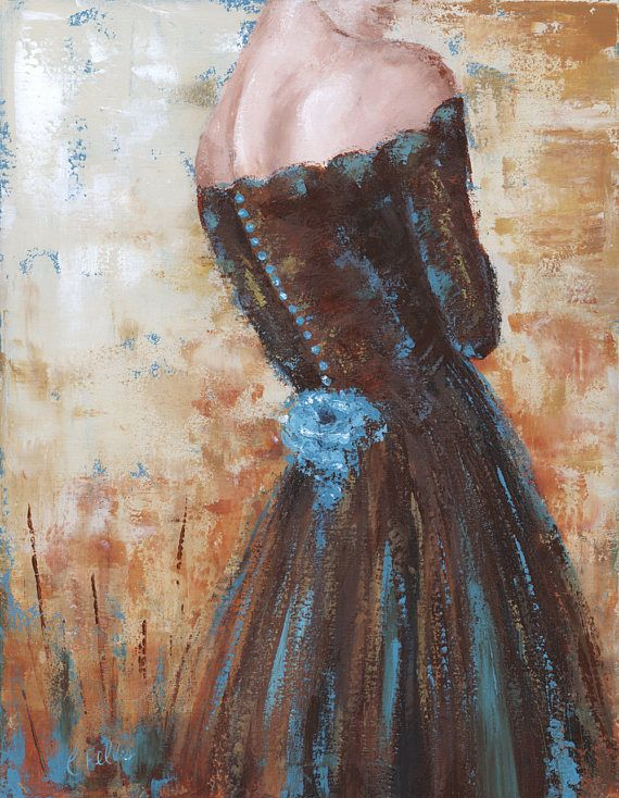 Woman in Burgundy Brown Dress Blue Flowers Acrylic painting