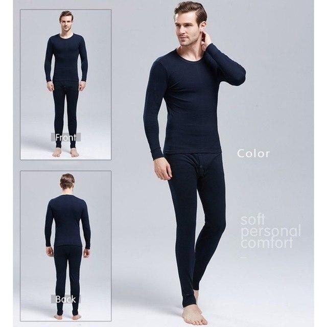 3Xl Men Cotton Thermal Underwear Comfy Home Intimates Layering Setautumn Winter Basic Long Johns Thermal Underwears Navy Blu