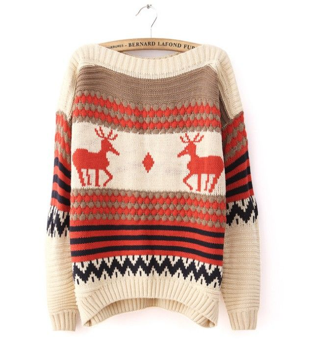 Beige Collar Fawn Pattern Bat Sleeve Pullover Sweater
