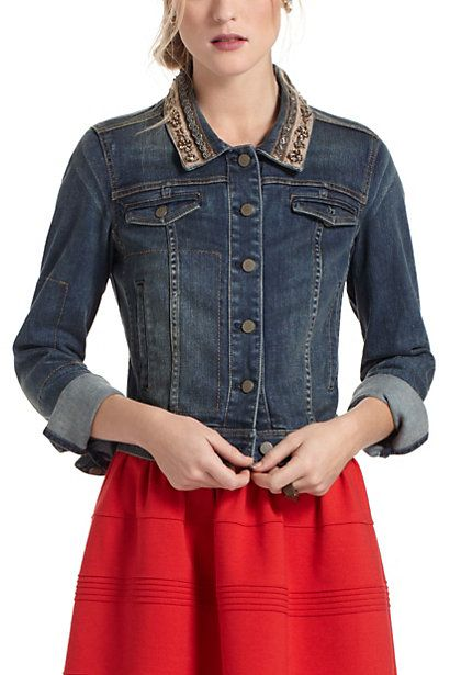 Beaded Denim Jacket #anthropologie. Saw this jacket in my Anthro store and fell in love!