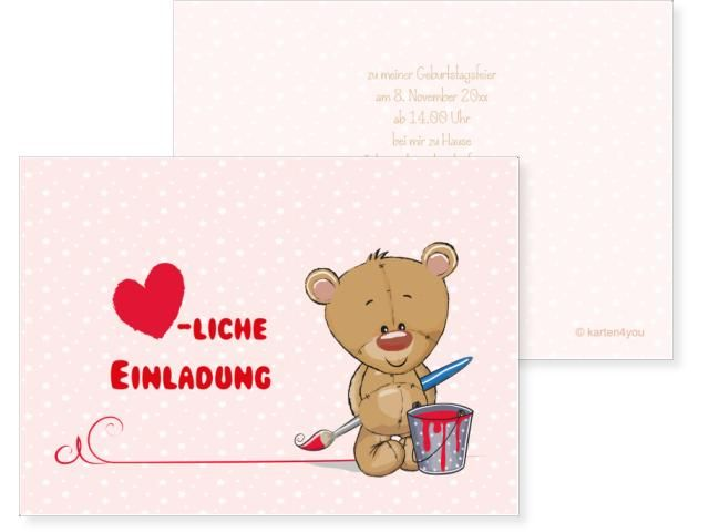 Bärenmalerei Klappkarte links 4-seitig 148x105mm rot, Geburtstag, Einladungskarten, Geburtstagskarten, Kindergeburtstag, Kids, Birthday,  Party, Birthdayparty