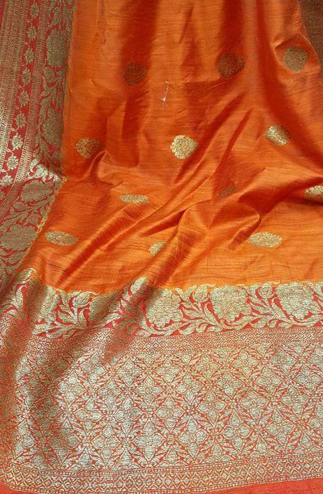 Orange Handloom Banarasi Dupion Pure Silk Saree