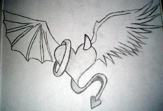 Angel vs Devil Drawings | Angel vs. Devil Heart by ~kiley ...