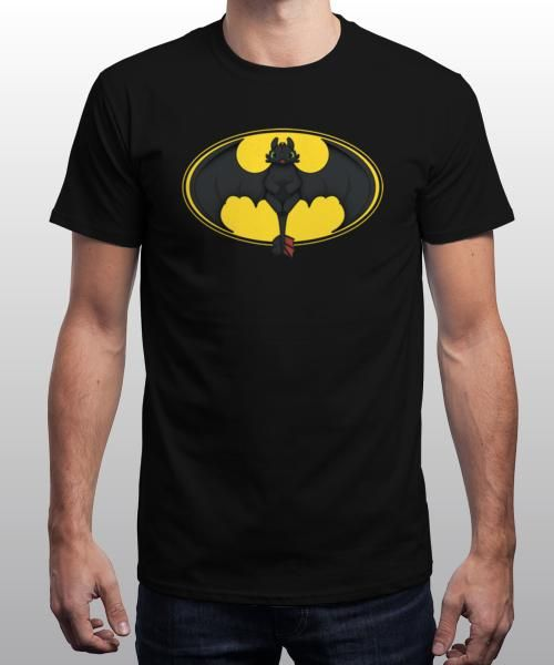 """""""How to Train Your Bat"""" is today's £8/€10/$12 tee for 24 hours only on www.Qwertee.com Pin this for a chance to win a FREE TEE this weekend. Follow us on pinterest.com/qwertee for a second! Thanks:)"""