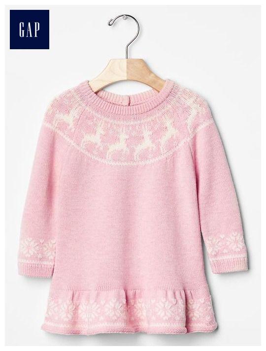Intarsia deer sweater dress