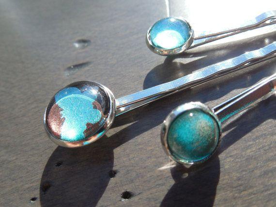 Ensemble de 3 épingles à cheveux barettes turquoise par CO2Bijoux