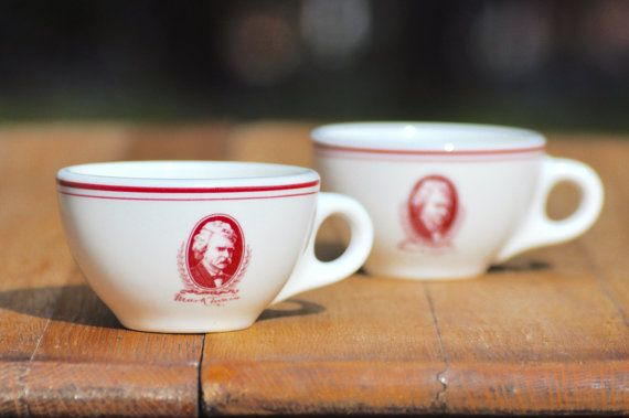 Mark Twain Hotel Syracuse China Cups  Set of by SecondTakeVintage