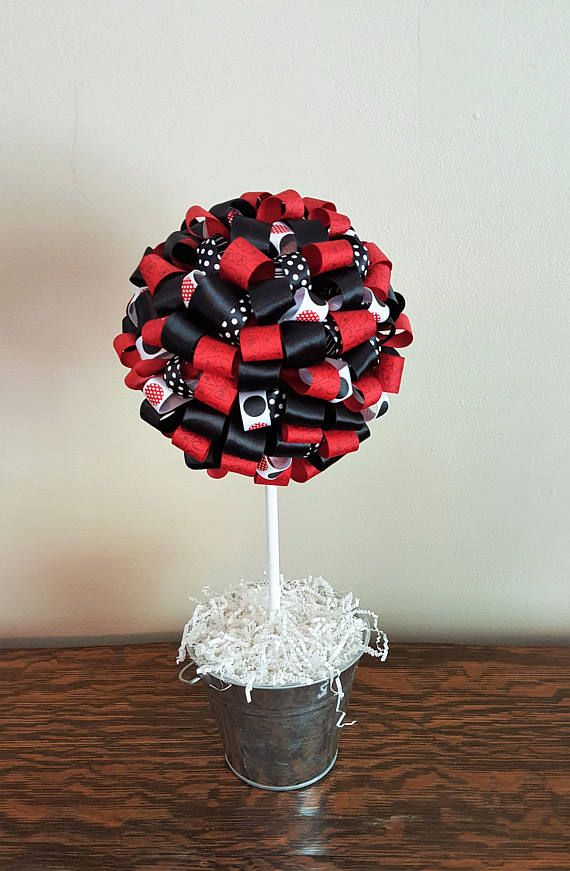 ribbon topiary, ladybug birthday, ladybug centerpiece