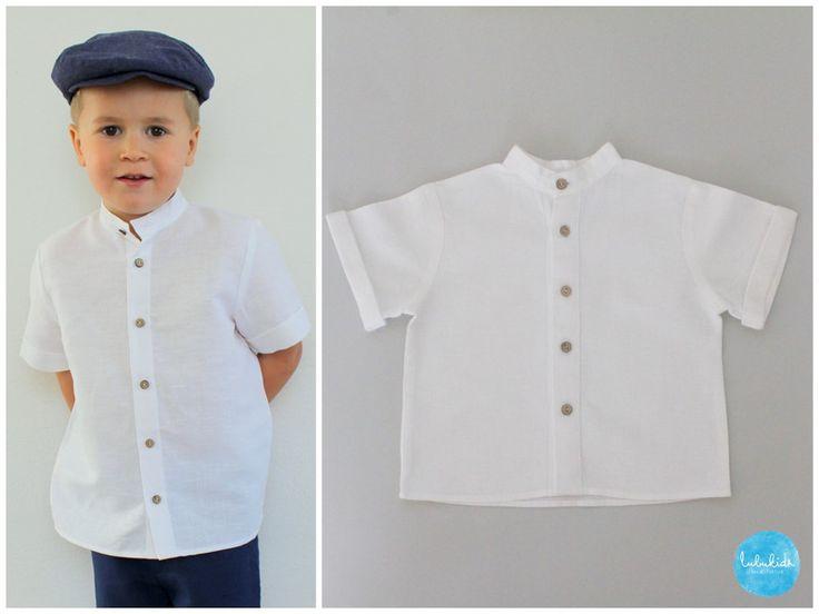 Taufbekleidung - weißes kurzarm Hemd aus Leinen mit Stehkragen - ein Designerstück von lubukidz bei DaWanda