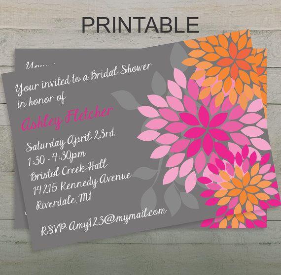 Pink and Orange Wedding Peony Bridal Shower by UrbanStyleDesigns, $10.50